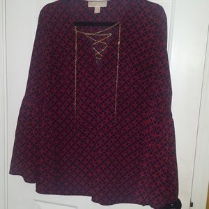 MK blouse with gold chain